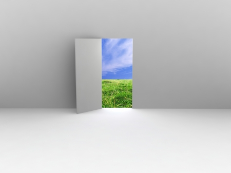 echo: Exit with door to natural landscape. Concept - echo house. Stock Photo