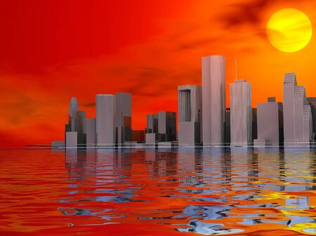 3D abstract modern city on beautiful seascape with sunset photo