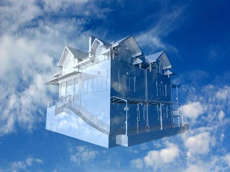 3D House on beautiful sky background. Concept - eco house. photo