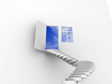 Exit with stairway, door and window. Concept - echo house.