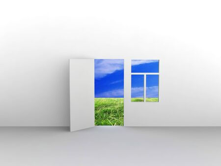 Exit to natural landscape with door and window. Concept - eco house. Stock Photo