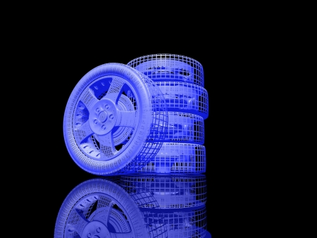 abstract wheels on black background with reflection