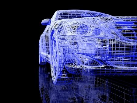 Auto model op een zwarte achtergrond met bezinning