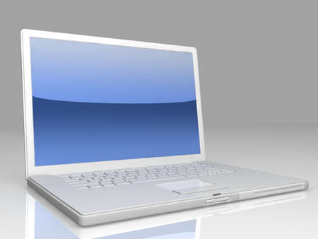professional Laptop on gray background with reflection photo