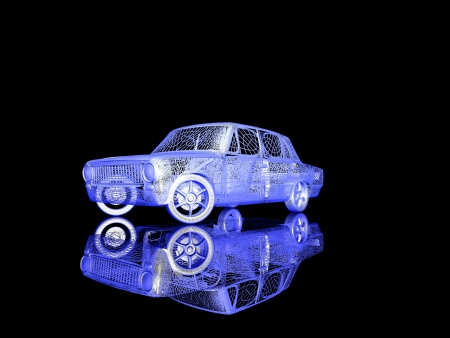 Car model on black background with reflection photo
