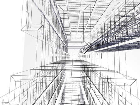 Abstract architectural 3D construction. Concept - modern architecture and designing. Stock Photo - 16583926