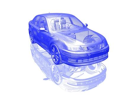 Auto model op een witte achtergrond met reflectie