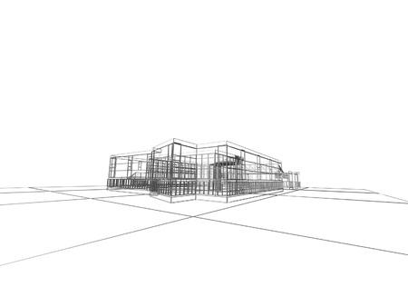 Abstracte architectonische 3D constructie Concept - moderne architectuur en het ontwerpen van