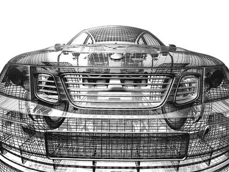 Auto model wit en zwart geïsoleerde Stockfoto