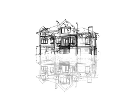 abstract modern building on white background with reflection