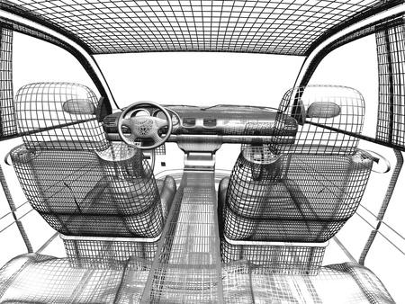 Model auto wit en zwart geïsoleerde Stockfoto