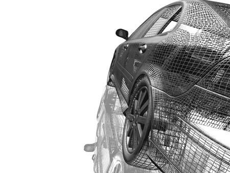 Auto model witte en zwarte geïsoleerd met reflectie