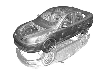 Car model white and black isolated with reflection