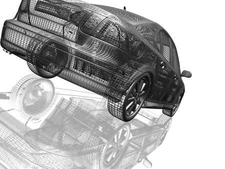 Auto model witte en zwarte geïsoleerd met reflectie Stockfoto