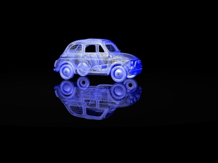vintage car isolated with reflection photo