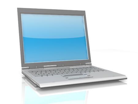 professional Laptop isolated on white background with reflection photo