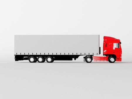 red truck isolated on white photo