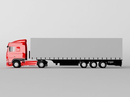 red truck isolated on gray photo