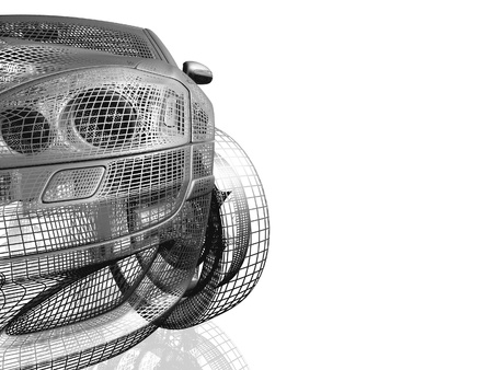 Model auto wit en zwart geà ¯ soleerd met reflectie