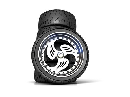 New wheels isolated on white Stock Photo - 16868696
