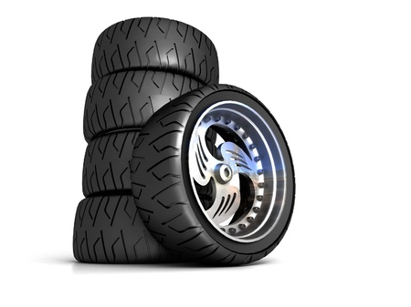 New wheels isolated on white Stock Photo - 16868723