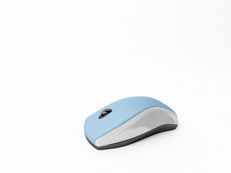 Blue computer mouse isolated on white photo