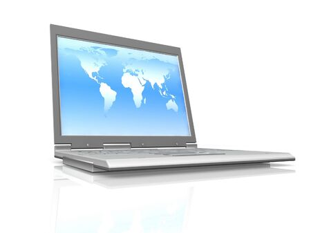 professional Laptop on white background with reflection photo