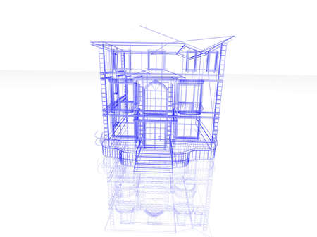 Abstract architectural 3D construction. Concept - modern architecture and designing. Stock Photo - 16906855