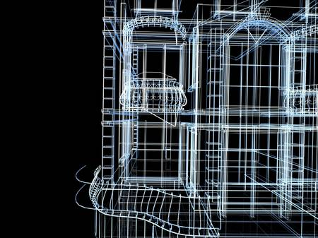 Abstract architectural 3D construction. Concept - modern architecture and designing. Stock Photo - 16906994