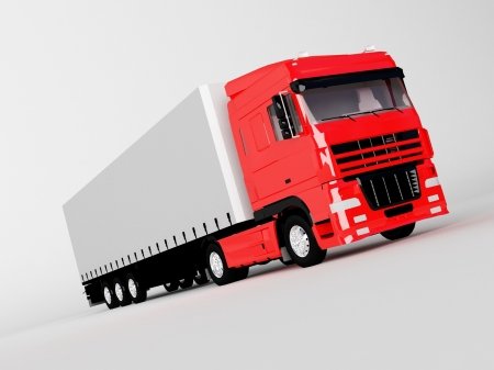 commercial painting: red truck isolated on white
