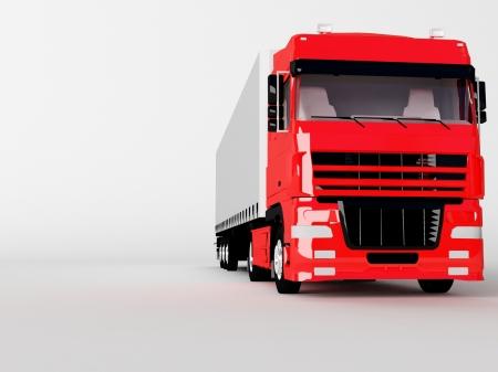 rode vrachtwagen geïsoleerd op wit