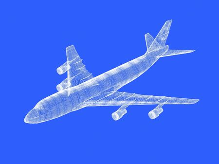 raytraced: model of jet airplane isolated on blue Stock Photo