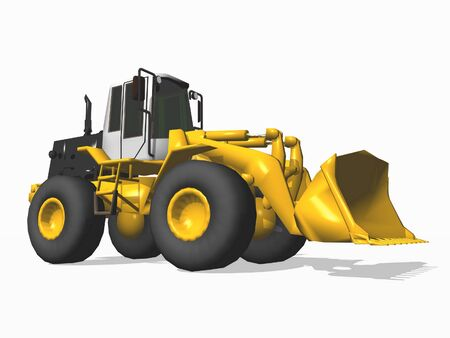 bulldozer isolated on white photo
