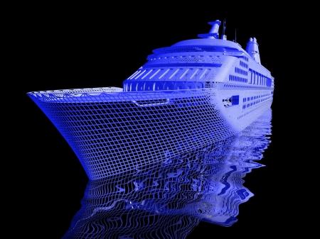 luxury yacht model isolated on black background Stock Photo - 16910935