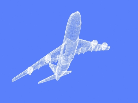 model of jet airplane isolated on blue photo
