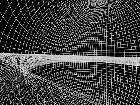 抽象的な建築の 3 D 構造。モダンな建築と設計コンセプト。