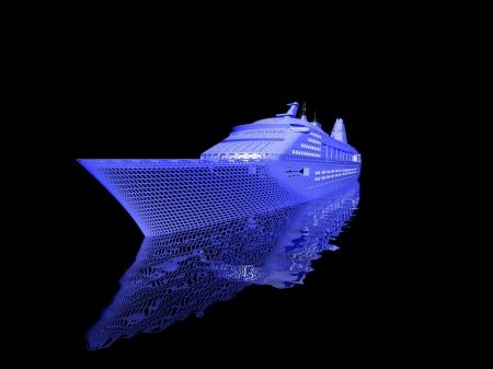 luxury yacht model isolated on black background Stock Photo - 16941178