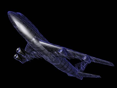 raytraced: model of jet airplane isolated on black with reflection