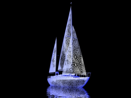 luxury yacht model isolated on black background Stock Photo - 16941157