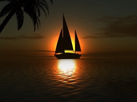 luxury yacht with palm photo