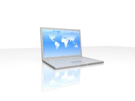 professional Laptop on white background with reflection Stock Photo - 16956504