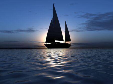 luxury yacht on sunrise background photo