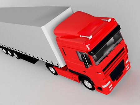red truck isolated on gray Stock Photo - 16956891
