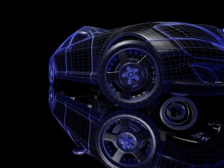 Auto model op een zwarte achtergrond met reflectie