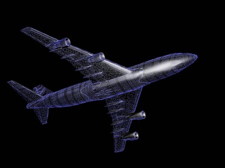 model of jet airplane isolated on black with reflection