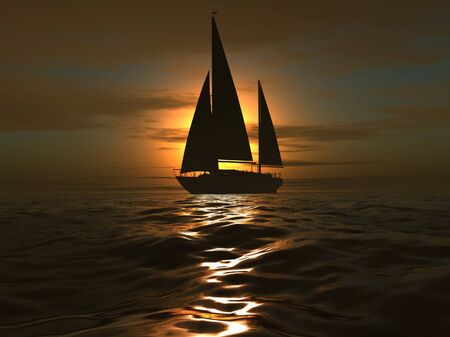 luxury yacht on sundown background photo