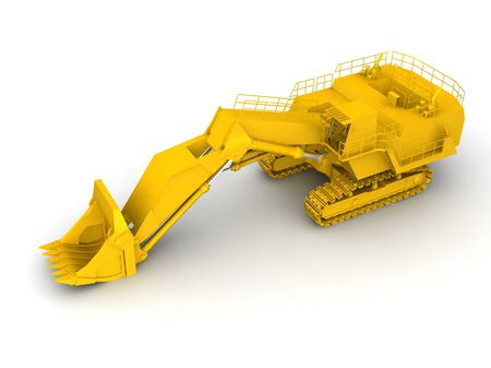 bulldozer-excavator isolated on white Stock Photo - 17124534