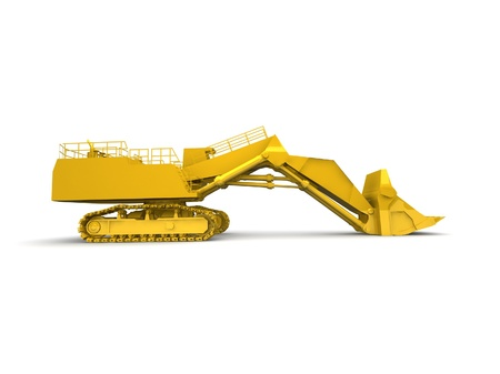 bulldozer-excavator isolated on white Stock Photo - 17124555