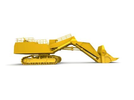 bulldozer-excavator isolated on white Stock Photo - 17124555