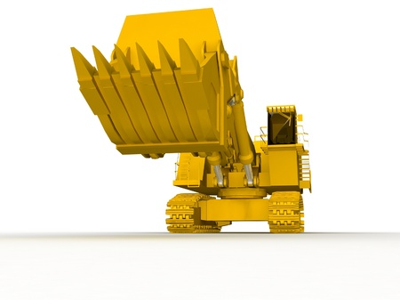 bulldozer-excavator isolated on white Stock Photo - 17124594